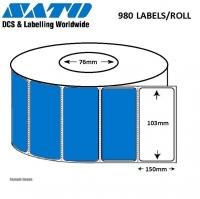 LABEL 103x150 P/TT 980LPR PERF 76mm 3 ROLLS PER BOX